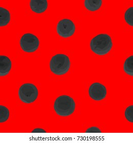 Seamless pattern of black dots on a red background. For your design. Vector.