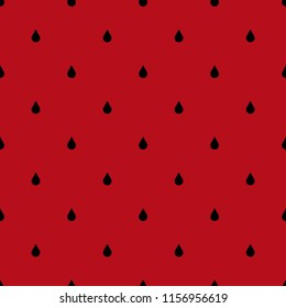 Seamless pattern of black droplets bones on a brightly red juicy background.