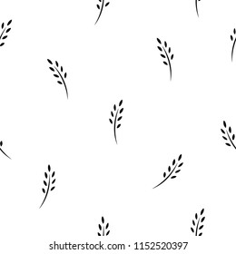 seamless pattern with black ears of wheat, barley or rye. natural gren ornament on white. eco company, agriculture, nature firm, ecology, healthy organic and farm fresh food wallpaper. Vector
