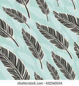 seamless pattern with black feather