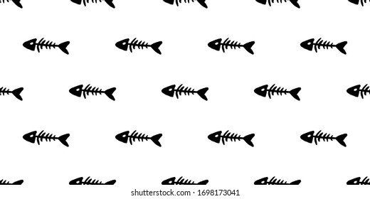 Seamless pattern of black fish bones. Silhouette print. Abstract animal wallpaper and fabric design and decor. Illustration isolated on white background. Vector