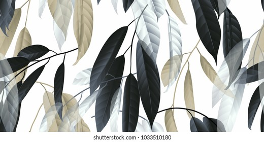Seamless pattern, black, golden and white long leaves on light grey background