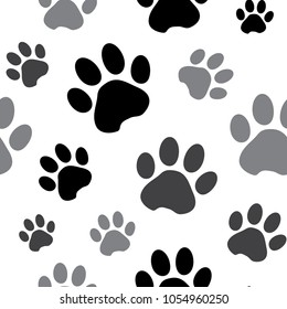 Seamless pattern with black and gray silhouette animal paw track isolated on white background. Vector illustration