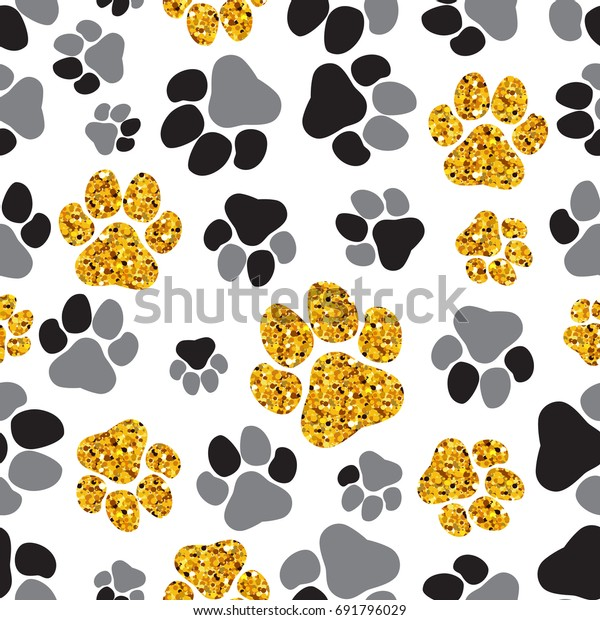0de77c9a86b4 Seamless pattern with black, grey and golden dogs paw prints. Vector  illustration for your