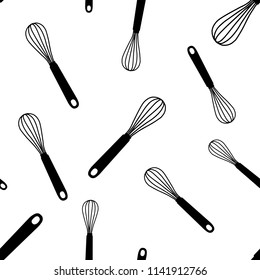 Seamless pattern with black hand drawn whisk kitchen utensil. Egg beater graphic emblem on a white background. Culinary symbol. Vector illustration