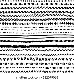 Seamless pattern of black marker strokes
