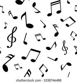 Seamless pattern with black music notes isolated on white background. Vector illustration