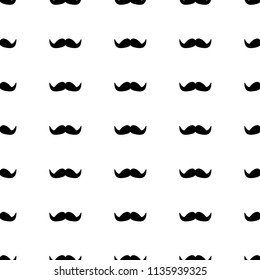 Seamless pattern with black mustache . Vector illustration