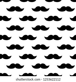 Seamless pattern with black mustaches on white background. Vector illustration