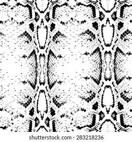 Seamless pattern black on white background. Snake skin texture. Vector illustration