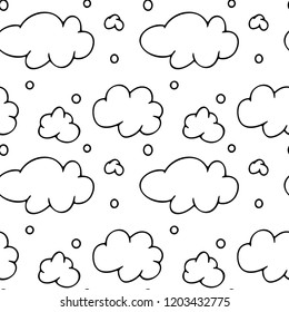 Seamless pattern of black outline clouds on the white background, vector backgrounds for kids, texture for wallpaper, wrapping, greeting card, print, line art