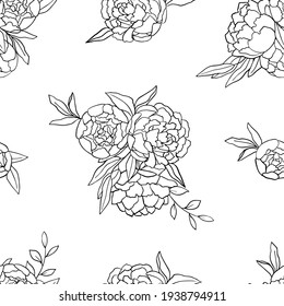 Seamless pattern with a black outline of peonies on a white background. Vector illustration for textiles and wedding design.