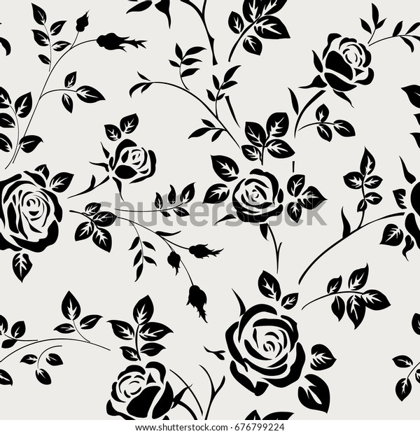 Seamless Pattern Black Rose Silhouette On Stock Vector Royalty Free 676799224