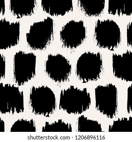 Seamless pattern with black round wide brush strokes on cream background. Monochrome hand drawn ink texture. Minimal abstract design.