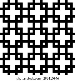 Seamless pattern - black signs on white background