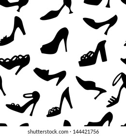 Seamless pattern with black silhouettes women's shoe. High heels. Clogs. Sandals. Endless print texture. White background - vector