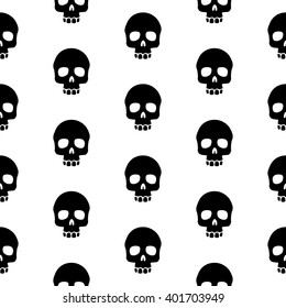 seamless pattern black skulls on a white background.