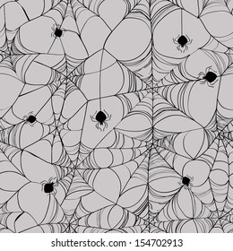 Seamless pattern of black spider web on a grey background