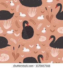 Seamless pattern with black swans and brood of cygnets floating in pond or lake among water lilies and reeds. Backdrop with flock of waterfowl. Flat colorful cartoon vector illustration for wallpaper.