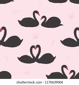 Seamless pattern with black swans floating in pond or lake among water plants. Backdrop with wild birds or waterfowl. Flat colorful cartoon vector illustration for fabric print, wrapping paper.