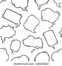 Seamless pattern of black and white bubbles talk