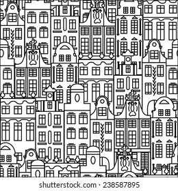 Seamless pattern with black and white buildings in old European style. Vector illustration