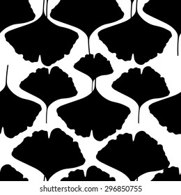 Seamless pattern in black and white colors with ginkgo leaves. Vector illustration