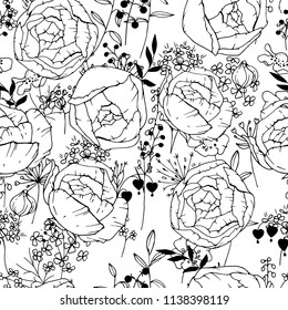 Seamless pattern with black and white contour roses. Endless texture for floral design.