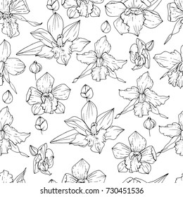 Seamless pattern with black and white contour orchids. Endless texture for floral design.