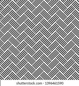 Seamless pattern of black white diagonal striped linear braids. Geometric striped ornament background. Print card, cloth, clothing, shirts, socks, shorts, dress, blanket wrap wrapper design.