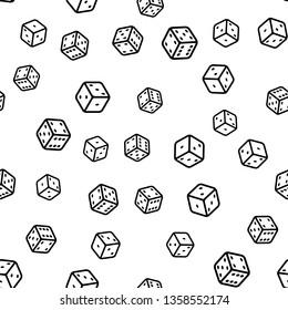 Seamless pattern with black and white dice for print and web.