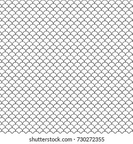 Seamless pattern. Black and white fish scales