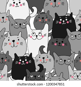 Seamless pattern with black and white Сats. Funny lovely Cats. Brushwork. Hand hatching. Doodle. Can be used for wallpaper, textile, invitation card, wrapping, web page background.