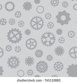 seamless pattern with black and white gears on a gray background