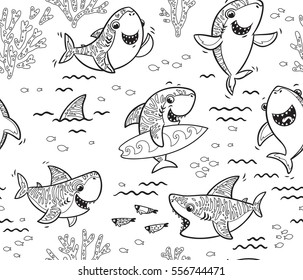 Seamless pattern with black and white hand drawn shark characters. Coloring book page. Vector seamless underwater pattern with ink cartoon sharks
