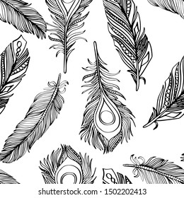 Seamless pattern with black and white handdrawn feathers. Vector illustration. Engraving sketch style