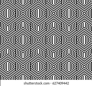 Seamless pattern with black white hexagons and striped lines. Optical illusion effect. Geometric tile in op art style. Vector illusive background, texture. Futuristic element, technologic design.