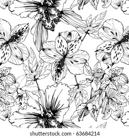 seamless pattern with black and white orchids