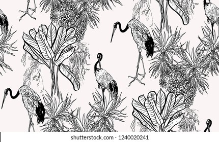 Seamless Pattern Black and White Outline Graphics Chinese Crane Birds in Bushes and Palms, Tropical Jungle, Oriental Print