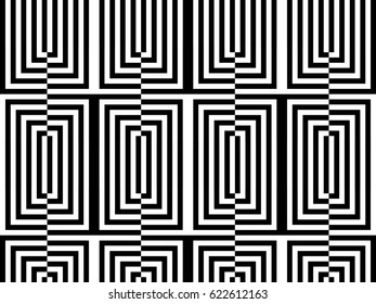 Seamless pattern with black white rectangles and striped lines. Optical illusion effect. Geometric tiles by op art, art deco. Vector illusive background, texture.