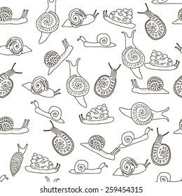 Seamless pattern with black and white snails in cartoon style. Vector illustration.