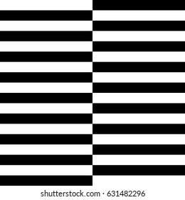 Seamless pattern with black white straight striped lines. Simple optical illusion, illusive effect. Kinetic tile in op art. Vector hypnotic background, texture. Decorative frame, vibrant design.