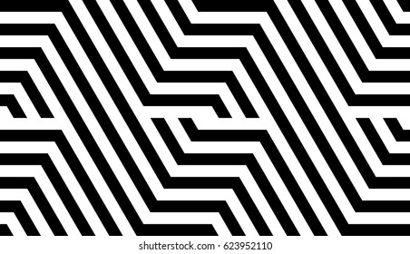 Seamless pattern with black white striped lines. Optical illusion effect. Geometric tile in op art style. Vector illusive background, texture. Futuristic element, technologic design.
