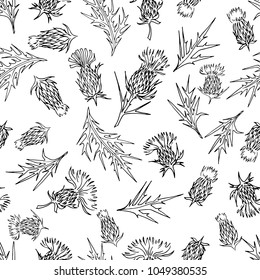 seamless pattern black and white thistle flower