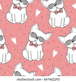 seamless pattern with Black and white vector sketch dog. Vector Illustration.