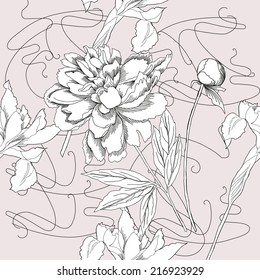 Seamless pattern  black and white.Peonies and iris. Vector illustration