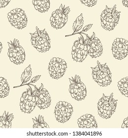 Seamless pattern with blackberry: a branch, berries, leaves. Vector hand drawn illustration