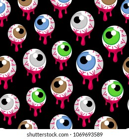 Seamless pattern with the bloody zombie or alien eyeballs. Fun Halloween illustration, black background.