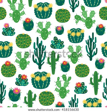 Seamless Pattern Blooming Cactuses On White Stock Vector Royalty