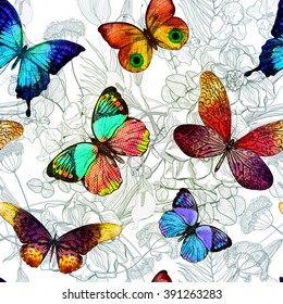 Seamless pattern with blooming flowers and flying butterflies. Vector colorful  illustration, EPS10.
